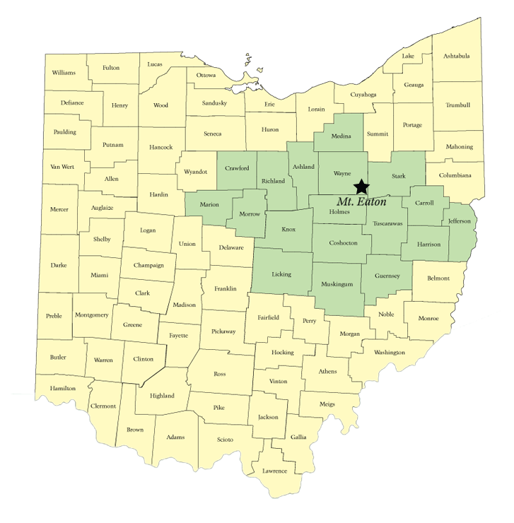 Ohio Geographic Area Map Showing Mt. Eaton
